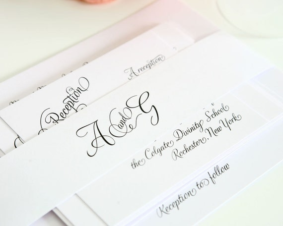Fairytale Script Wedding Invitation Suite - Beautiful, Whimsical, Woodland, White Fairytale Wedding - Invite Sample Set