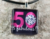 50th Birthday Glass Tile Pendant with chain or cord