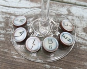 Wine Charms Wooden Typewriter Keys in  Antique Ivory