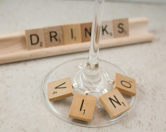 VINO Wine Charms set of 4, Letter Wine Charm, Wooden Drink Charm, Wood Tile Wine Charms