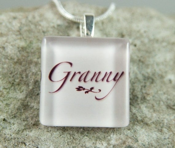 Granny Glass Tile Pendant with chain or cord