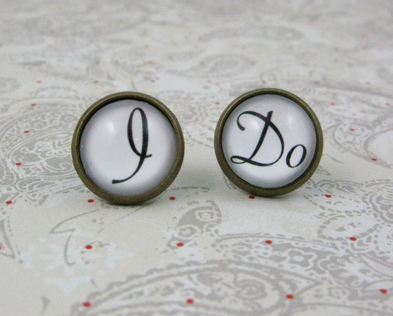 I Do Stud Earrings, wedding, bride, post earrings, glass dome