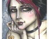 Fuschia Goth Emo Punk Vampire Girl Original Art ACEO