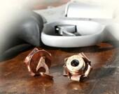 Bullet Cuff Links, Cufflinks, Brass 40 Caliber, Rosettes, Swarovski Crystals