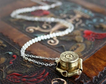 Elegant Bullet Casing Necklace, Winchester 45 Auto, acp, Very Unique Rosette