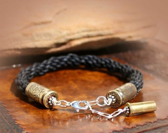 Bullet Bangle Bracelet, Kumihimo Woven Dark Brown Leather Band, Etched Casings by sundaycreekgems on Etsy