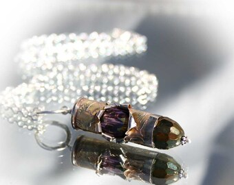 Bullet Necklace, Nickel Plated Brass Casing, Unusual, Dogwood Etched, Crystals, Sterling Silver, Colt 45