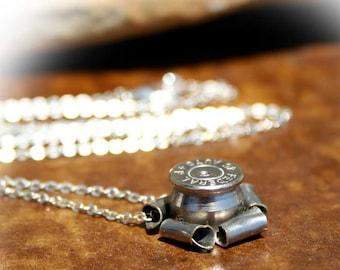 Elegant Bullet Casing Necklace, Nickel Plated 45 Auto, Very Unique