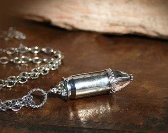 Necklace, 45 ACP Bullet Casing, Pendant, Crystal, Sterling Silver Accents