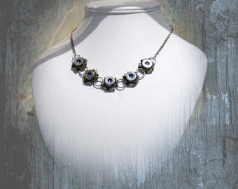 Bullet Necklace, Nickel 45 ACP Casing Rosettes with Swarovski Crystals, Sterling Silver Links