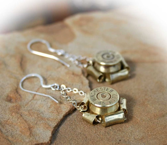 Bullet Rosette Earrings, 40 Caliber, Sterling Silver Earwires by sundaycreekgems on Etsy