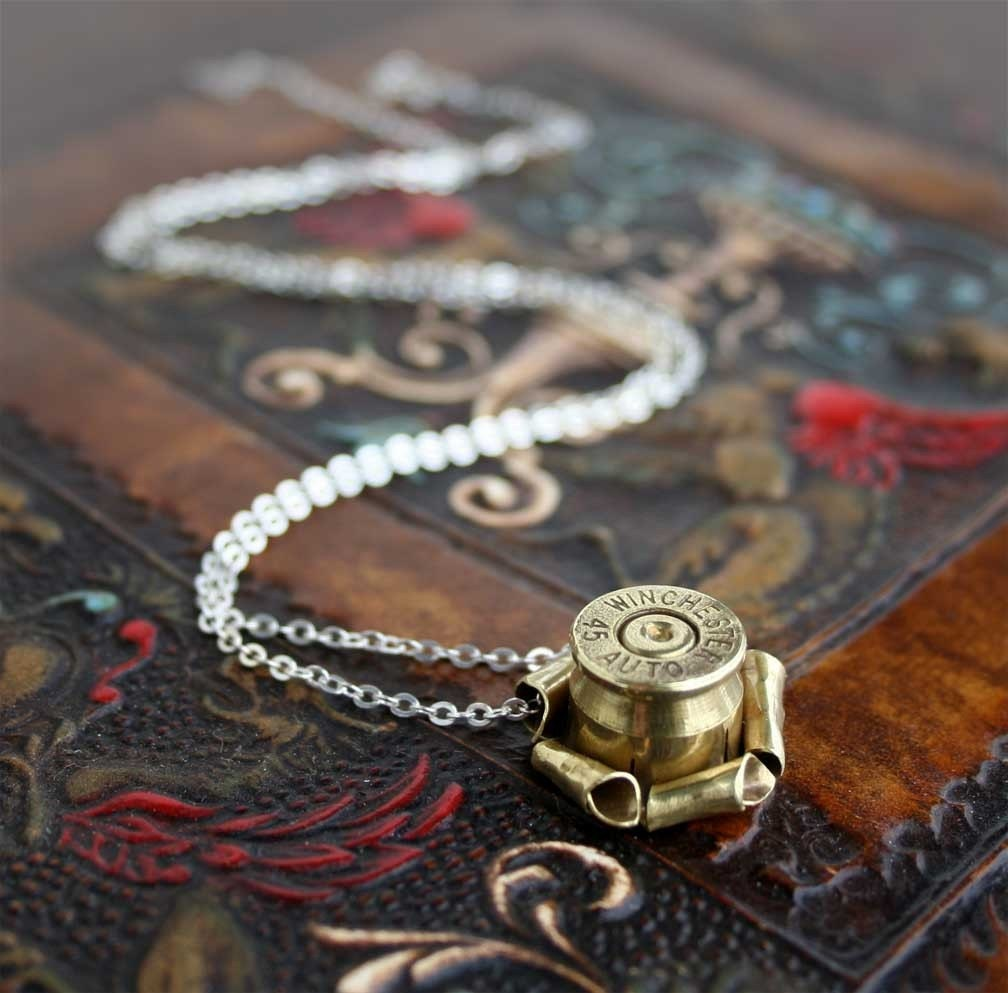 elegant bullet casing necklace winchester 45 auto acp very