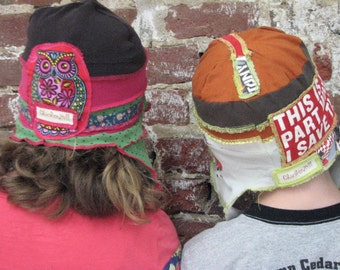 pdf OFFtheWALL recycled HAT pattern and tutorial...sizes 7-12yrs, upcycled t-shirts