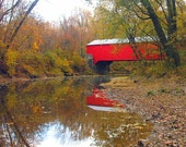 Brown County Park Covered Bridge in Fall 8x10 Limited Edition Archival Print FREE SHIPPING TIL 2010