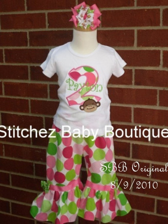 THE ORIGINAL Custom Girls Pink Mod Monkey Dot Birthday Ruffle Capris Or Pants Outfit Set with M2M hairbow