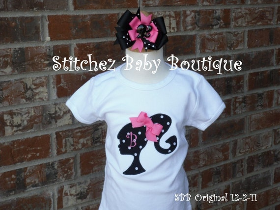Custom Girls Barbie Inspired Monogram Shirt and M2M hairbow SET Perfect for birthday