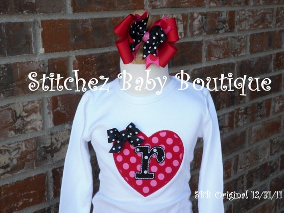 Custom Girls Valentine's Day Shirt and Hairbow SET with Michael Miller fabric