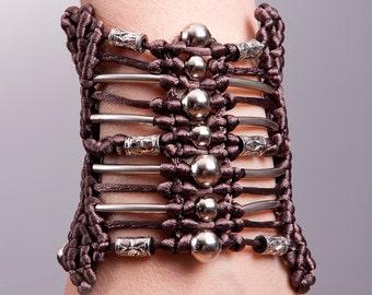 CHOCOLATE Beaded Macrame Hand-knitted Bracelet
