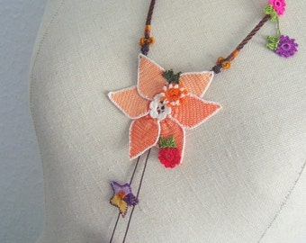 Romantic hand crocheted star necklace