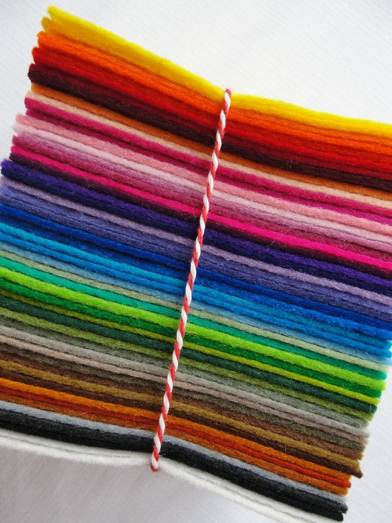 "Rainbow Stack Wool Felt - 50 Colors - 3.5"" squares - 100% Wool"