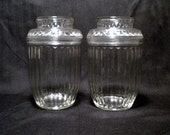 Two Vintage Anchor Hocking Apothecary Jars with Lids