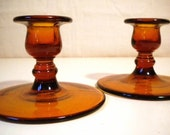Pair of Simple Molded Amber Glass Vintage Candle Holders