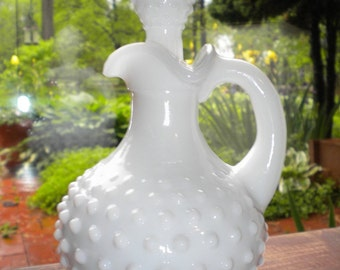 Vintage Collectible Avon Milk Glass Hobnail Pitcher/Decanter