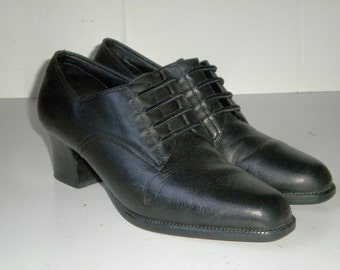 Vintage Black Leather High Heel Laced Oxford Slip On Librarian Shoes Woman 6B