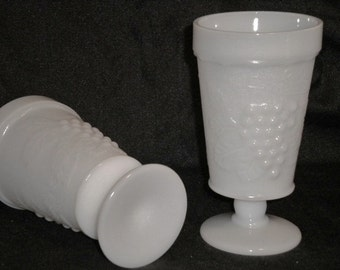 6 Vintage Milk Glass Goblet Grape Design Lot of 6 Wine Glass