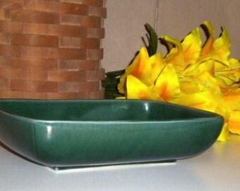 Vintage Hull Pottery Green Modern Low Flower Bowl/Planter