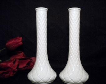 Vintage Pair of Hoosier Milk Glass Bud Vases Lot of 2