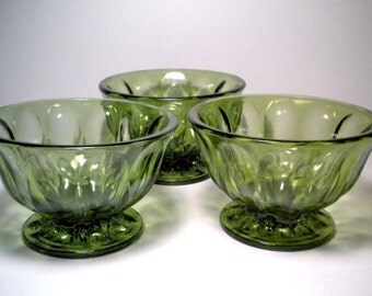 Vintage Avocado Green Glass Planter Vase Bowl Centerpiece Set of 3