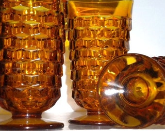 Vintage Set of 4 Colony Glass Whitehall Cube Amber Iced Tea Glasses