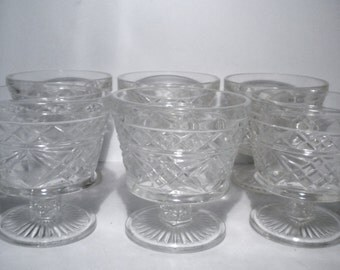 Set of 4 Hazel Atlas Big Top Footed Dessert Dishes Custard Ice Cream Sherbert