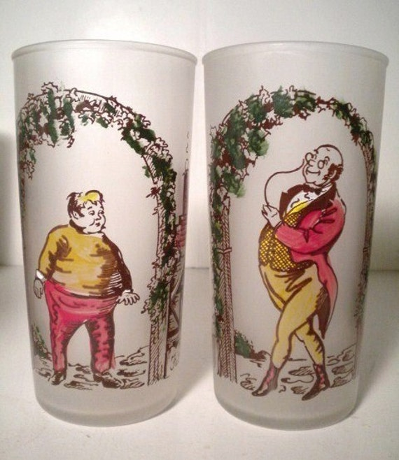 Vintage Hazel Atlas Frosted Glasses Charles Dickens Characters Mr. Pickwick and Fat Boy from Pickwick Papers