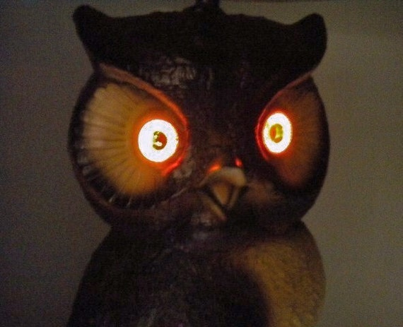 Vintage Ceramic Owl Table Lamp with Glowing Orange Eyes and Original Shade