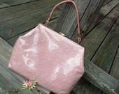Sale........1950s Pink Hand Vinyl Lace Purse, Spring and Summer Fashion , Ladies , Easter , Clothing Accessories