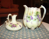 Footed Cream Pitcher and Small Violet Pitcher