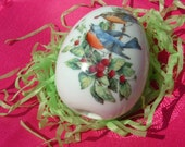 Porcelain Egg with Bluebirds and Berry Bush from Avon