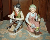 Lady figurine only.......Working Together in Life elderly porcelain couple by ARDCO