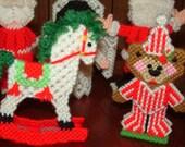 SALE....Set of 5 vintage Handmade 3D Plastic Canvas Christmas Decorations handmade needlepoint ...Vintage Christmas Centerpiece or Tree