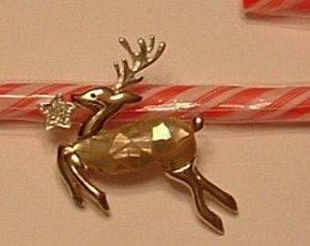 "Abalone signed "" Liz Claiborne ""reindeer Brooch , Christmas, Christmas Gift, Designer Jewelry, Rhinestones"