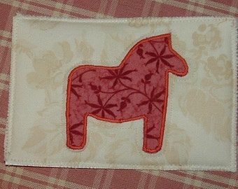 Folk Art Horse appliqued postcard