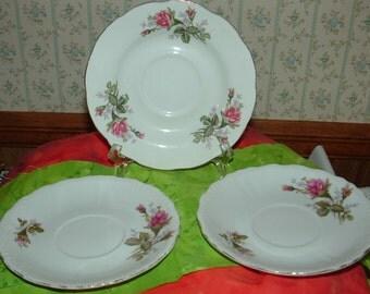 3 Vintage Rose Saucers
