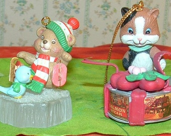 2 CHRISTMAS  ornaments Bear and Cat