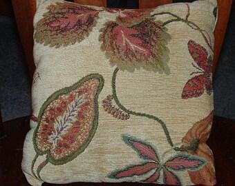 New Handmade Caladium Leaves and Bugs throw pillow