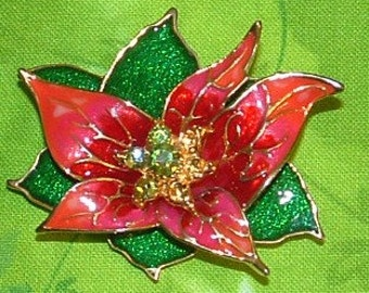 Enamel Poinsettia with Green Rhinestones  Brooch