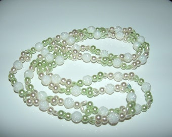 Mint  and White Rosette bead necklace