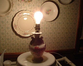 Sale.....Antique French Country Bedroom Lamp with Floral Design , Lighting, Porcelain lamp