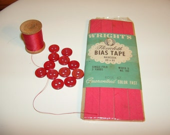 Vintage ROSE Sewing Supplies, Buttons, Thread,Bias Tape pink red